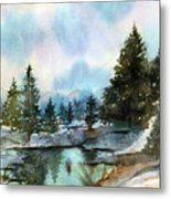 Snowy Lake Reflections Metal Print