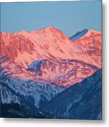 Snowy Mountain Range With A Rosy Hue At Sunset Metal Print