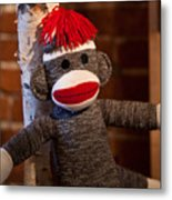 Sock Monkey Metal Print