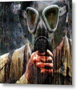 Soldier In World War 2 Gas Mask Metal Print