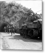 Soldiers Move Through A Smoke Filled Metal Print