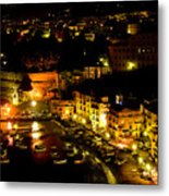 Sorrento Harbor At Night Metal Print
