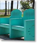 South Beach Bench Metal Print
