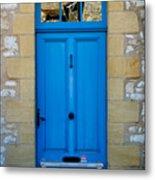 South Of France Rustic Blue Door  Metal Print