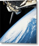 Space Shuttle In Outer Space Metal Print