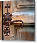 Spanish Mission Door Handle Metal Print by Jill Battaglia