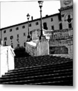 Spanish Steps Rome In Black And White Metal Print