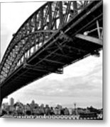 Spanning Sydney Harbour - Black And White Metal Print