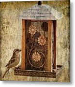Sparrow On The Feeder Metal Print