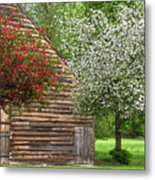 Spring Flowers And The Barn Metal Print