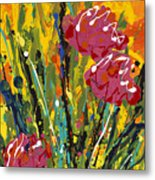 Spring Tulips Triptych Panel 2 Metal Print