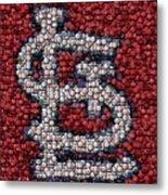 St. Louis Cardinals Bottle Cap Mosaic Metal Print by Paul Van Scott