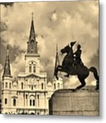St. Louis Cathedral And Statue Metal Print