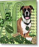 St Patricks Day - My Boxer Is Me Lucky Charm Metal Print by Renae Laughner