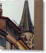 St. Peter Tower Zurich Switzerland Metal Print by Susanne Van Hulst