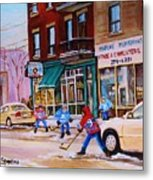 St. Viateur Bagel With Boys Playing Hockey Metal Print