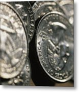 Stacks Of Quarters Stand Askew Metal Print by Stephen Alvarez