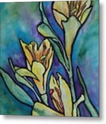 Stained Glass Flowers Metal Print