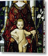 Stained Glass Window Of The Madonna And Child Metal Print