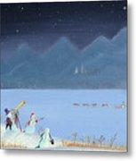 Star Gazing Snowmen Metal Print by Thomas Griffin