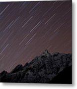 Star Trails Above Himal Chuli Created Metal Print