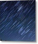 Star Trails Long Exposure At Night Metal Print by Evan Sharboneau