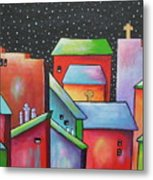 Starry Night In The Little City 2 Metal Print