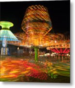 State Fair Rides At Night I Metal Print by Clarence Holmes