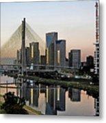 Stayed Bridge And Modern Sao Paulo Skyline Metal Print by Carlos Alkmin
