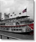 Steamboat Natchez Black And White Metal Print