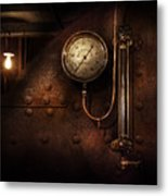 Steampunk - Boiler Gauge Metal Print by Mike Savad