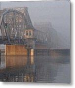Steel Bridge In Fog Metal Print