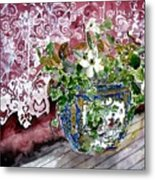 Still Life Vase And Lace Watercolor Painting Metal Print