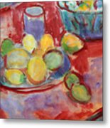 Still Life With A Red Cloth Metal Print