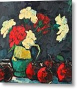 Still Life With Apples And Carnations Metal Print by Ana Maria Edulescu