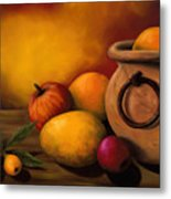 Still Life With Ceramic Pot Metal Print