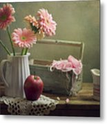 Still Life With Pink Gerberas And Red Apple Metal Print