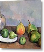 Still Life With Pitcher And Fruit Metal Print by Paul Cezanne