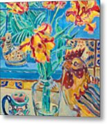 Still Life With Rooster And Tulips Metal Print