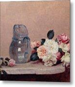 Still Life With Roses Metal Print by Ignace Henri Jean Fantin-Latour