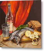 Still Life With Vodka And Herring Metal Print by Roxana Paul