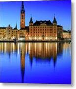 Stockholm Riddarholmen Blue Hour Reflection Metal Print