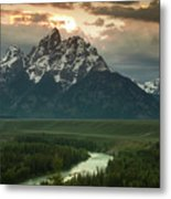 Storm Clouds Over The Tetons Metal Print by Andrew Soundarajan
