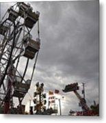 Stormy Ferris Wheel Metal Print