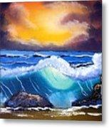Stormy Sunset Shoreline Metal Print