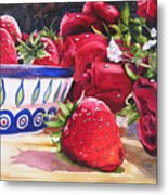 Strawberries And Roses Metal Print