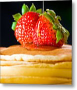 Strawberry Butter Pancake With Honey Maple Sirup Flowing Down Metal Print