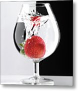 Strawberry In A Glass Metal Print