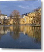 Stuttgart State Theater Beautiful Reflection In Blue Water Metal Print