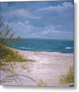 Summer Beach And Sea Grasses Metal Print